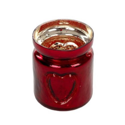 Red Glass Embellished Heart Christmas Tea Light Candle Holder